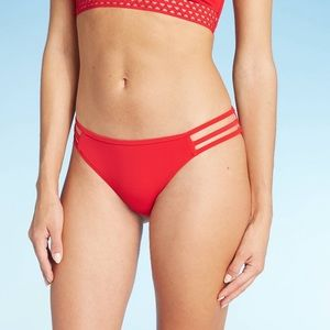 2/$22 Shade & Shore Red Strappy Side Cheek Bottoms
